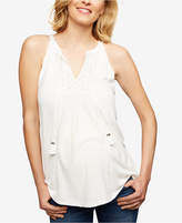 Daniel Rainn Maternity Lace-Trim Sleeveless Blouse