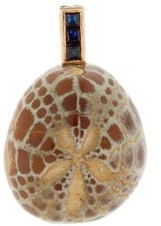 Dezso Sapphire & 18kt Gold Sea-urchin Fossil Charm - Brown Multi