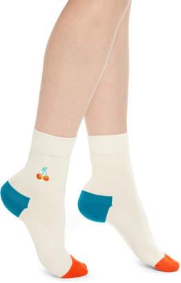 Happy Socks Cherry Embroidered Crew Socks