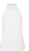 Rosetta Getty Polka Dot Fil Coupe Halter Shirt
