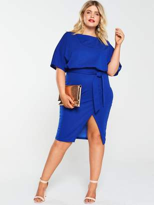 AX Paris Curve Tie Waist Asymmetric Dress - Cobalt Blue