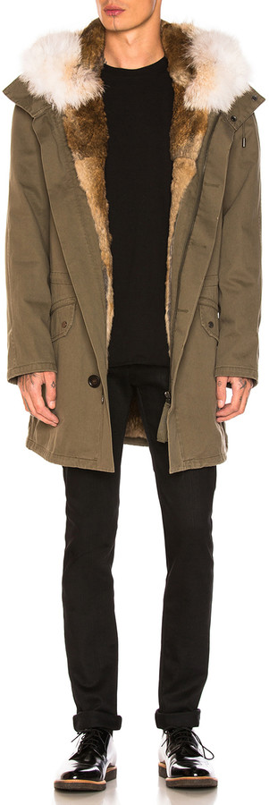 Yves Salomon Cotton Parka with Rabbit and Coyote Fur