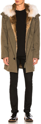 Yves Salomon Cotton Parka with Rabbit and Coyote Fur in Hunter Green & Oil | FWRD