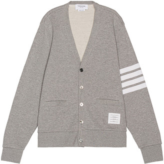 Thom Browne V Neck Cardigan in Light Grey | FWRD