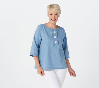 Martha Stewart 3/4-Sleeve Denim Blouse with Button Detail