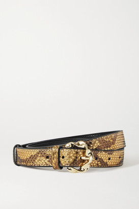Loeffler Randall Josephine Metallic Snake-effect Leather Belt - Gold