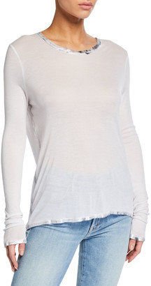 Zadig & Voltaire Willy Silver Foil Trim Long-Sleeve T-Shirt