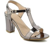 Cuckoo Chunky High Heel T-strap Sandals Patent PU Leather Heeled Pumps 7.5B(M) US