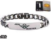 "Disney Stainless Steel Star Wars Yoda ID Curb Chain Bracelet - 8"""