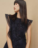 Ted Baker Ruffle Lace Top Dark Blue