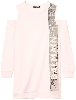 Balmain Kids Cold-Shoulder Long Sleeve Dress w/ Vertical Logo (Little Kids/Big Kids) (Pink) Girl's Clothing