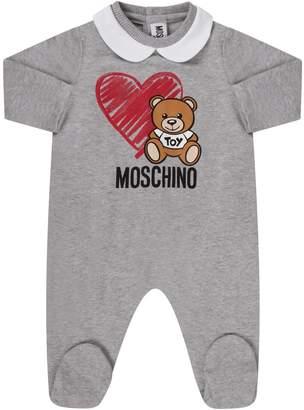 Moschino Grey Babyboy Set With Teddy Bear And Heart