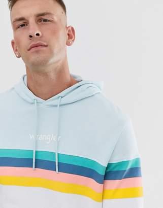 Wrangler rainbow chest stripe hoodie in light blue/white