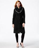 Jones New York Petite Faux-Fur-Collar Walker Coat