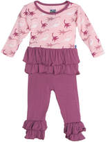 Kickee Pants Printed Long Sleeve Double Ruffle Outfit Set - Purple, Size 18-24 months