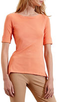 Lauren Ralph Lauren Stretch Cotton Bateau Neck Tee