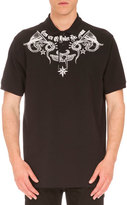 Givenchy Columbian-Fit Tattoo-Print Polo Shirt, Black