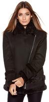 Quiz Black Suedette Faux Fur Lined Biker Jacket