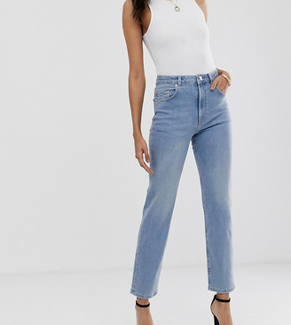 Asos Tall DESIGN Tall Florence authentic straight leg jeans in low stretch denim in light vintage wash-Blue