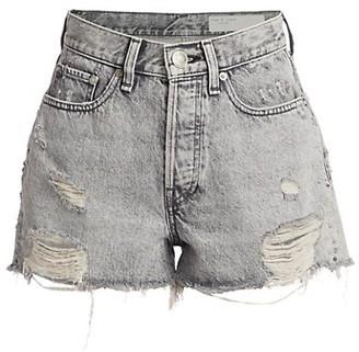 Rag & Bone Maya High-Rise Distressed Hem Denim Shorts