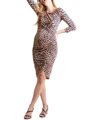Ingrid & Isabel Maternity Leopard 3/4-Sleeve Front Shirred Dress