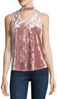 BY AND BY by&by Sleeveless Round Neck Velvet Blouse-Juniors