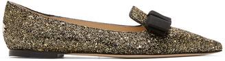 Jimmy Choo Gold and Black Coarse Glitter Gala Flats