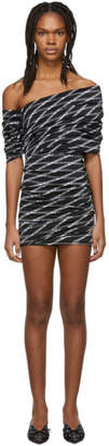 Balenciaga Black and White Stretch Monogram Asymmetric Dress