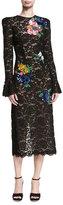 Monique Lhuillier Sequined Floral Lace Midi Dress