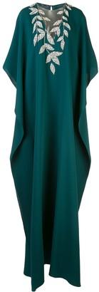 Oscar de la Renta Adorned Crystal Leaves Gown