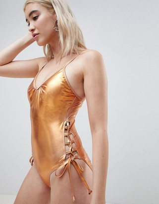 Pieces Metallic Swimsuit With Laced Sides-Copper