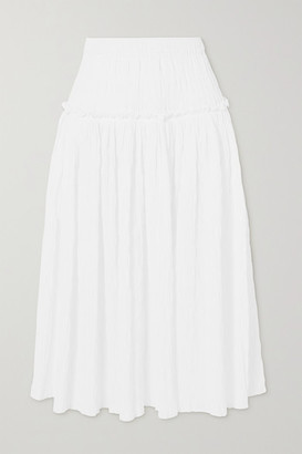 Mara Hoffman Alejandra Tiered Smocked Organic Stretch-cotton Midi Skirt - White