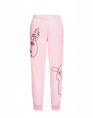 Moschino Pants In Technical Rep With Cornely Embroidery Woman Pink Size 38 It - (4 Us)
