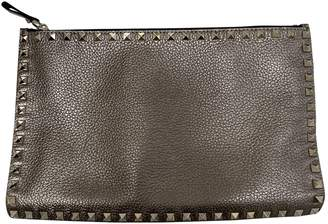 Valentino Rockstud Silver Leather Clutch bags