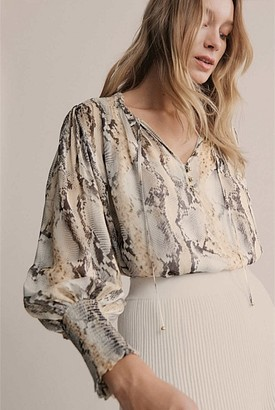 Witchery Print Shirred Tie Blouse
