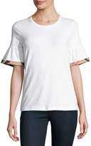 Burberry Crewneck Tee w/ Gathered Check-Trim Sleeves, White