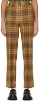 Thumbnail for your product : SSENSE WORKS SSENSE Exclusive Jeremy O. Harris Brown Check Cropped Trousers