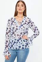 Missguided Curve White Printed Floral Top, Blue