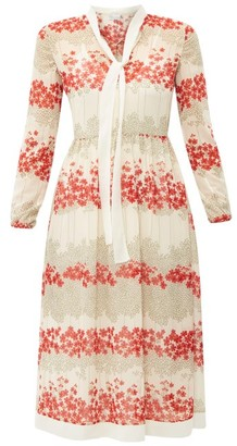 RED Valentino Neck-tie Floral-print Chiffon Midi Dress - Womens - White Multi
