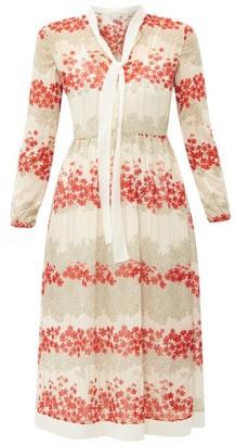 RED Valentino Neck-tie Floral-print Chiffon Midi Dress - Womens - White Multi
