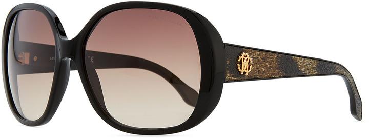 Roberto Cavalli Taj Soft Square Sunglasses, Black/Leopard