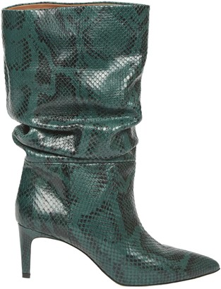Paris Texas Dark Green Boot Snake Printed