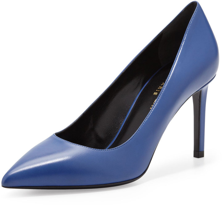 Saint Laurent Paris Mid-Heel Pointed-Toe Calfskin Pump, Blue