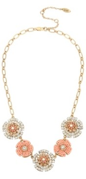 Miriam Haskell New York Woven Beaded Flower Frontal Necklace