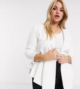 Club L London Plus collar detail peplum blazer in white