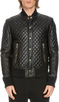 Balmain Diamond-Quilted Leather Bomber Jacket, Black
