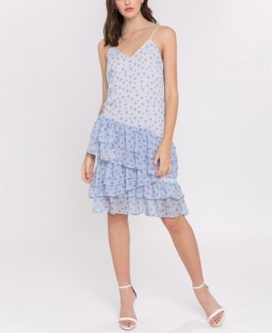 Endless Rose Ditzy Lotus Print Strappy Ruffled Dress