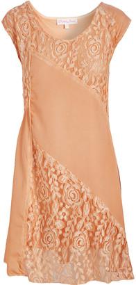 Pretty Angel Women's Casual Dresses ORANGE(OR) - Orange Lace-Panel Silk-Blend Scoop Neck Dress - Women