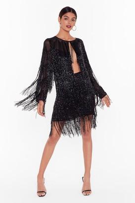 Nasty Gal Womens Studio Bead It Fringe Mini Skirt - Black - 8