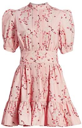 By Ti Mo Floral Puff-Sleeve Mini Dress